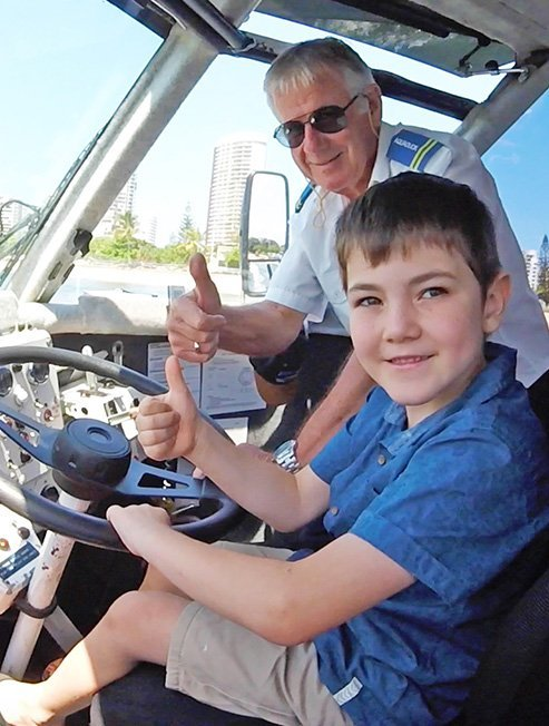 Happy Boy Driving the Aquaduck on the Gold Coast