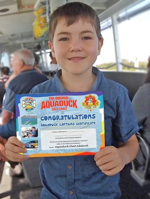 Boy with Aquaduck Captains Certificate