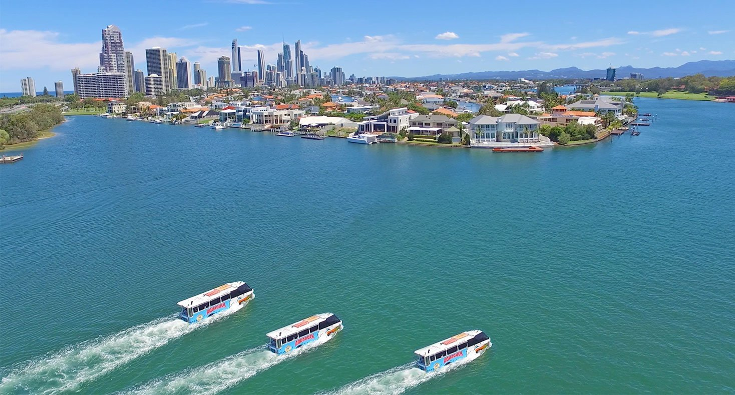 Three Duck Buses on Gold Coast Broadwater