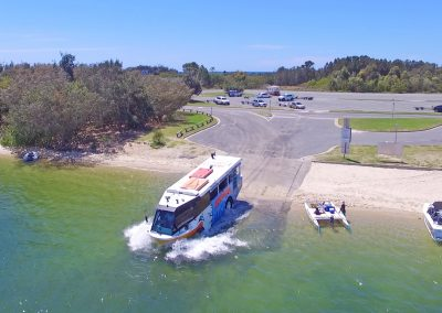 Duck Bus Driving into Gold Coast Water