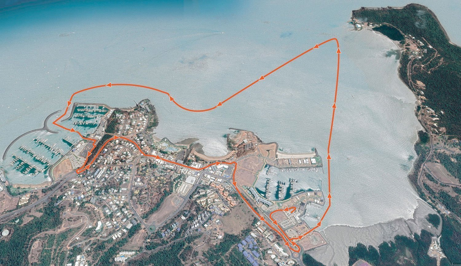 Aerial map of Airlie Beach, Qld