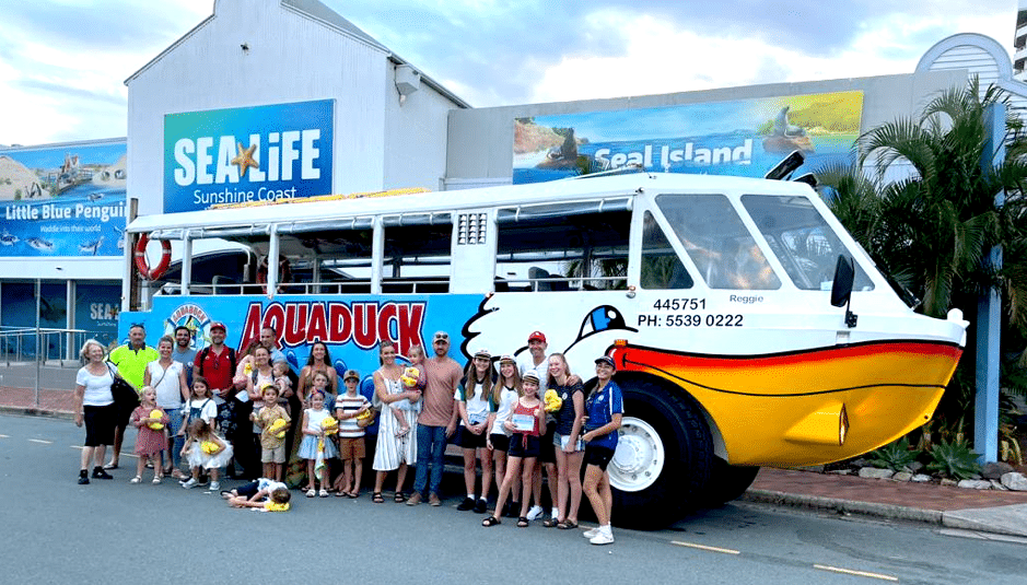 Aquaduck Sunshine Coast with happy customers standing in front